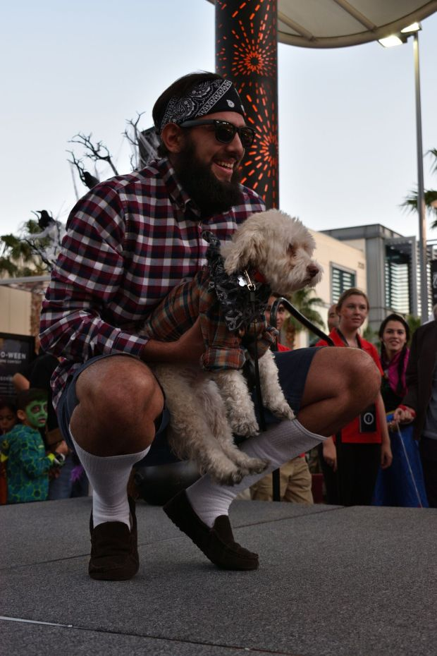 Man and dog in costume